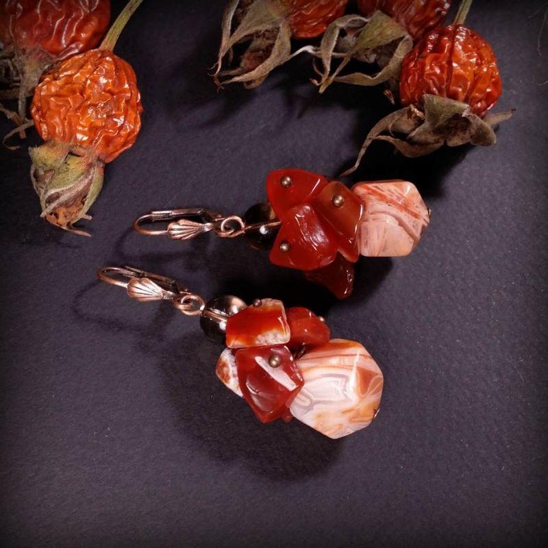 Комплект украшений из сердолика - браслет и серьги Оранжевый Браслет сердолик, раухто Для Счастья - фото 3