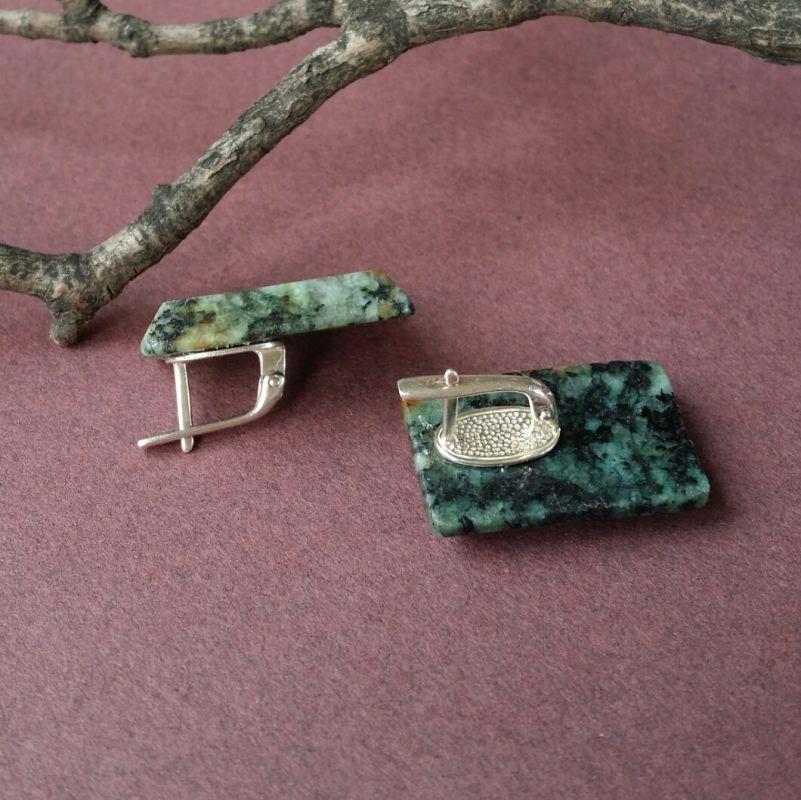 """Зеленые крупные серьги Зеленый тонированная яшма """"а Для Счастья - фото 2"""