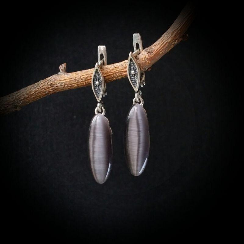 Серебряные серьги с кошачьим глазом  кошачий глаз, серебро 925 Для Счастья - фото 1