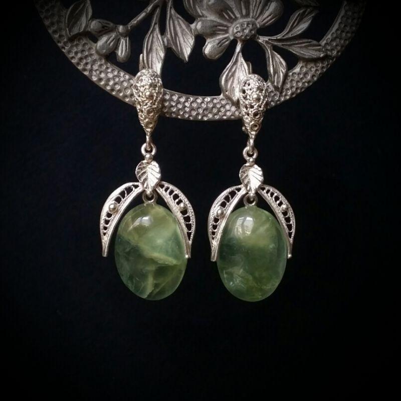 Серебряные серьги с пренитом Зеленый пренит, серебро 925 пробы Для Счастья - фото 1