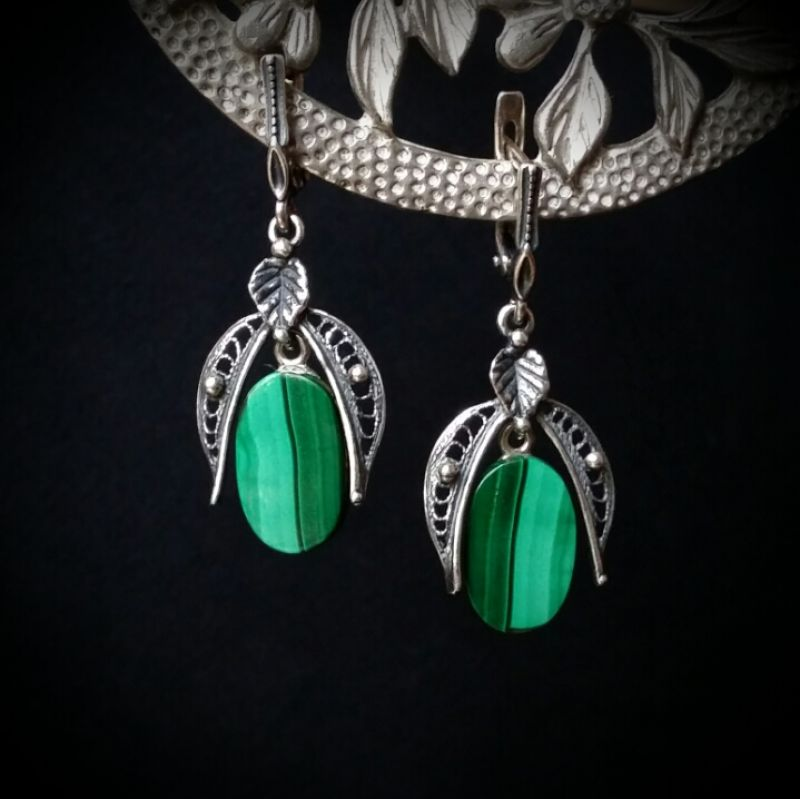 Серебряные серьги с малахитом Зеленый натуральный малахит, сере Для Счастья - фото 1