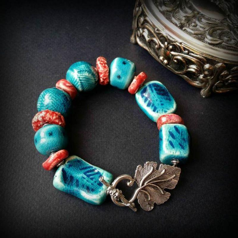 Красно-голубой браслет из керамики Голубой керамика ручной работы, ф Для Счастья - фото 4
