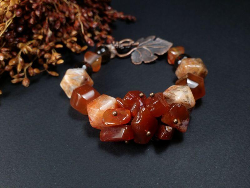 Комплект украшений из сердолика - браслет и серьги Оранжевый Браслет сердолик, раухто Для Счастья - фото 2