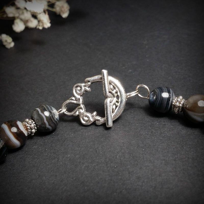 Черный агатовый браслет Черный агат, фурнитура из бижуте Для Счастья - фото 2