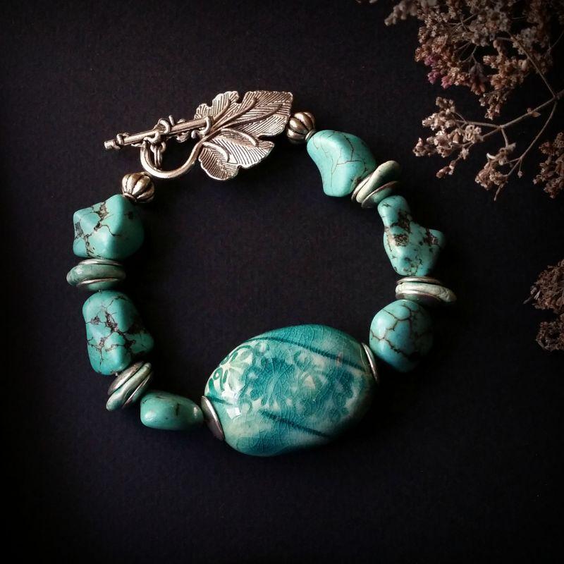 Голубой керамический браслет Голубой керамика ручной работы, и Для Счастья - фото 1