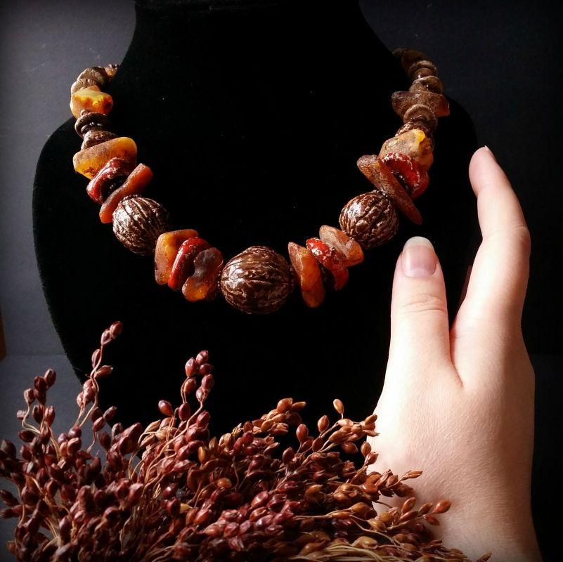 Керамические бусы Орешки Оранжевый керамика ручной работы, я Для Счастья - фото 3