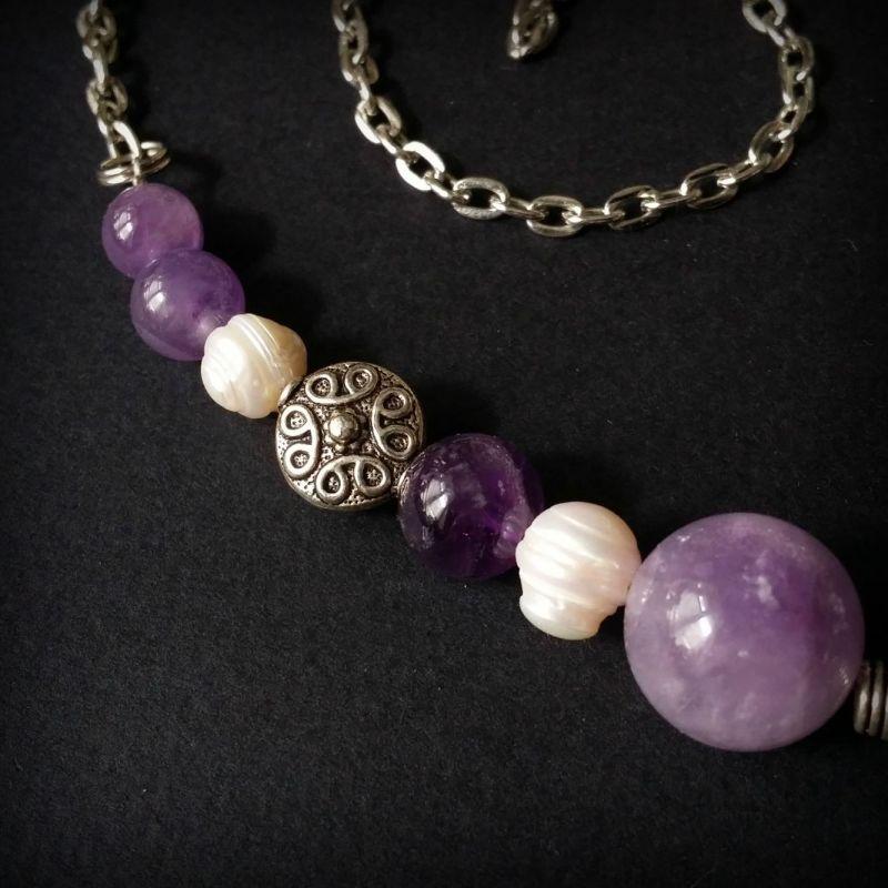 Колье из аметиста и жемчуга Фиолетовый аметист, жемчуг, фурнитур Для Счастья - фото 2