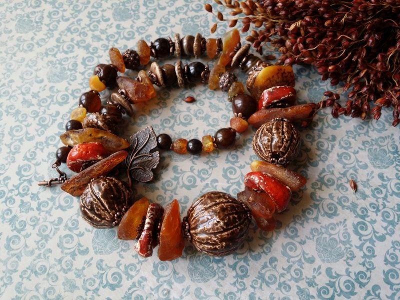 Керамические бусы Орешки Оранжевый керамика ручной работы, я Для Счастья - фото 4