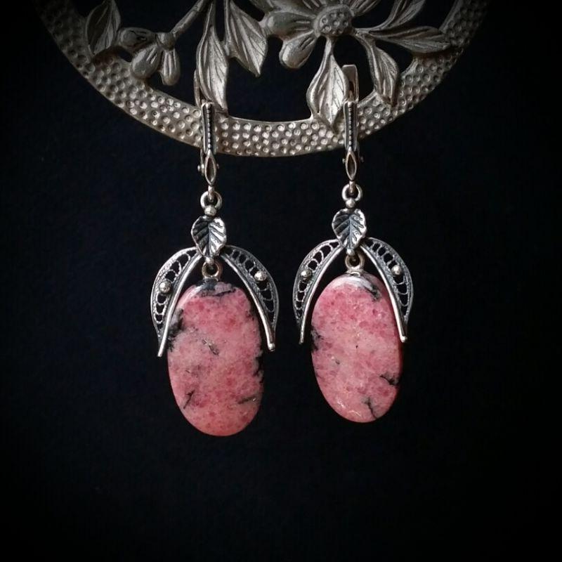Серебряные серьги с родонитом Розовый родонит, серебро 925 проб Для Счастья - фото 1