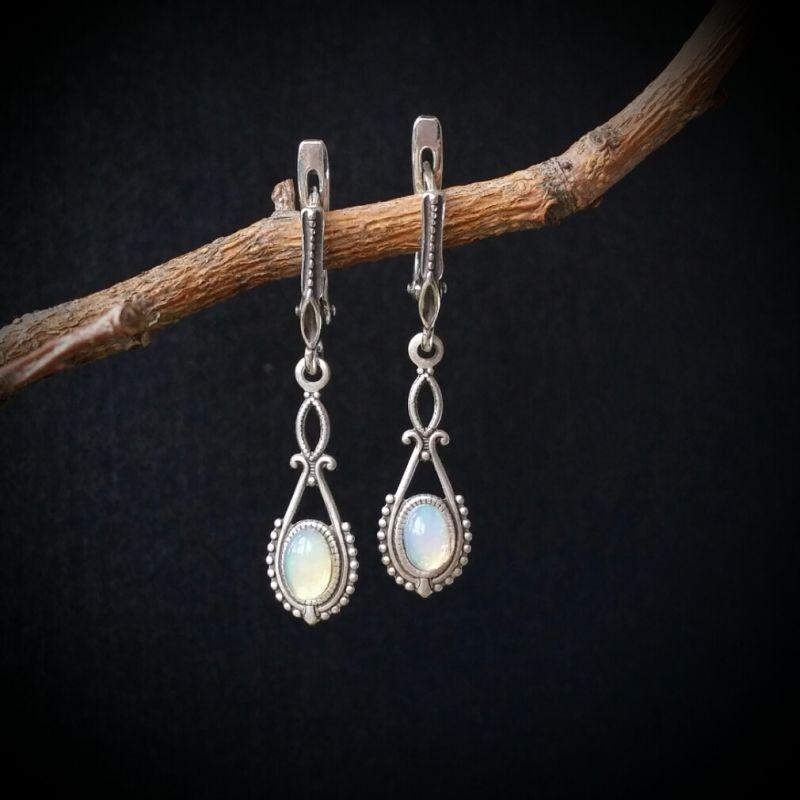 Серебряные серьги Мир снов  натуральный опал, серебро Для Счастья - фото 1