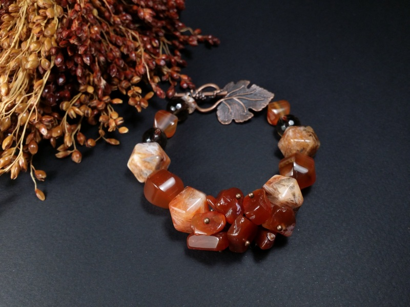 Браслет из сердолика и раухтопаза Оранжевый сердолик, раухтопаз, фурн Для Счастья - фото 2