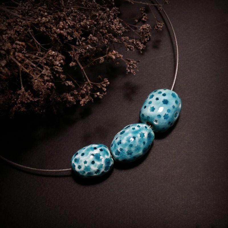 Голубой кулон Звездочки из керамики ручной работы Голубой керамические бусины ручно Для Счастья - фото 1