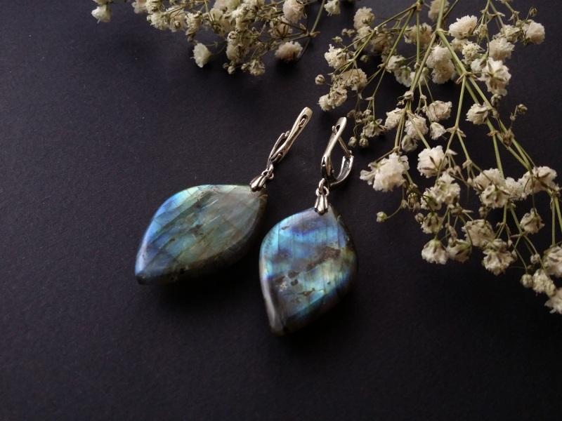 Серебряные серьги с лабрадором  лабрадор, серебро 925 про Для Счастья - фото 3