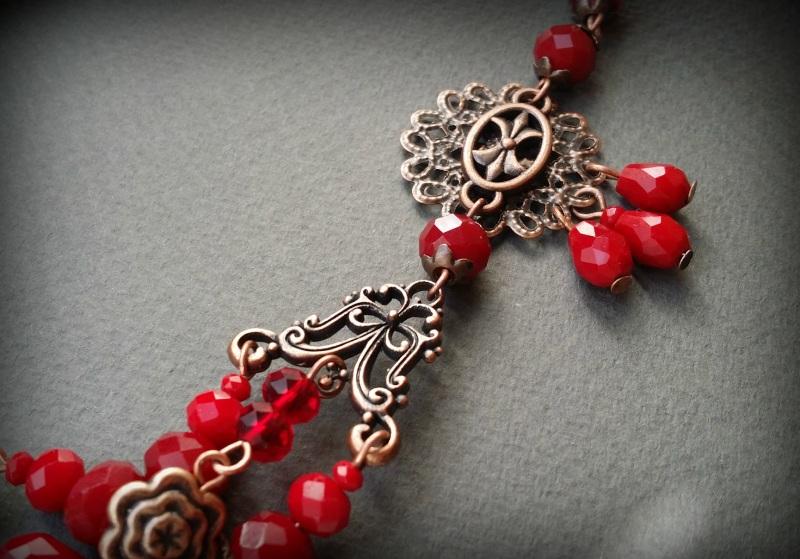 Рябиновое короткое красное колье Красный Чешское стекло, фурнитура Для Счастья - фото 3