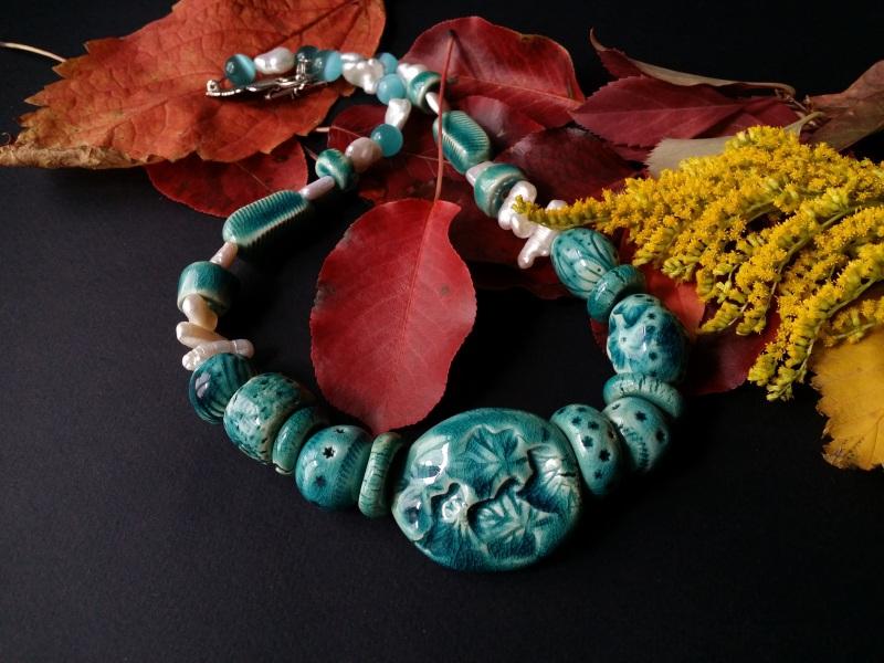 Голубые бусы из керамики Голубая лагуна  авторская керамика ручной Для Счастья - фото 4