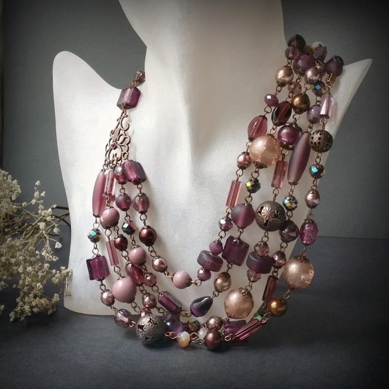 Вишневое массивное ожерелье Разноцветный чешское и индийское стекл Для Счастья - фото 6
