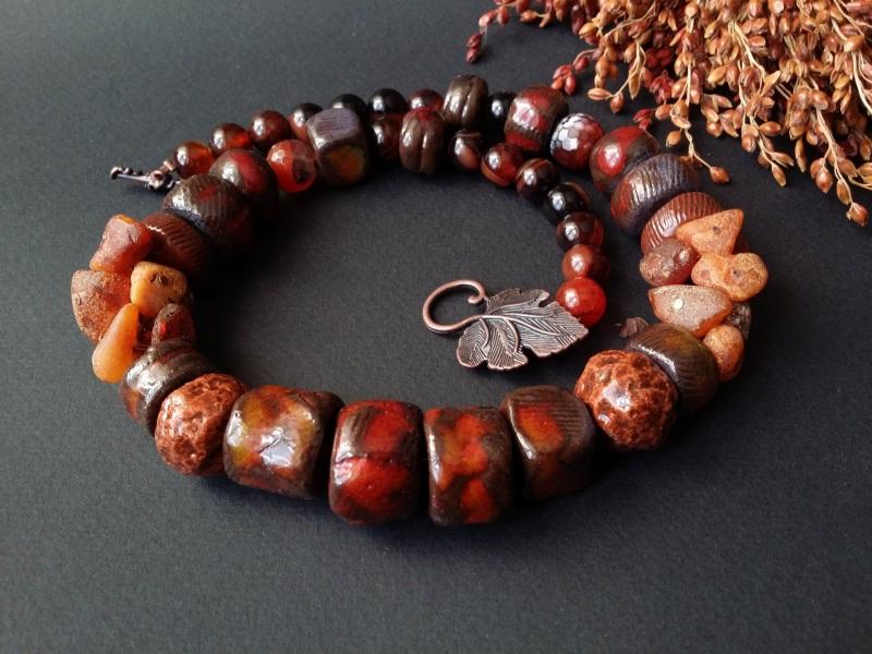 Красно коричневые бусы Огненная саламандра  авторская керамика ручной Для Счастья - фото 3