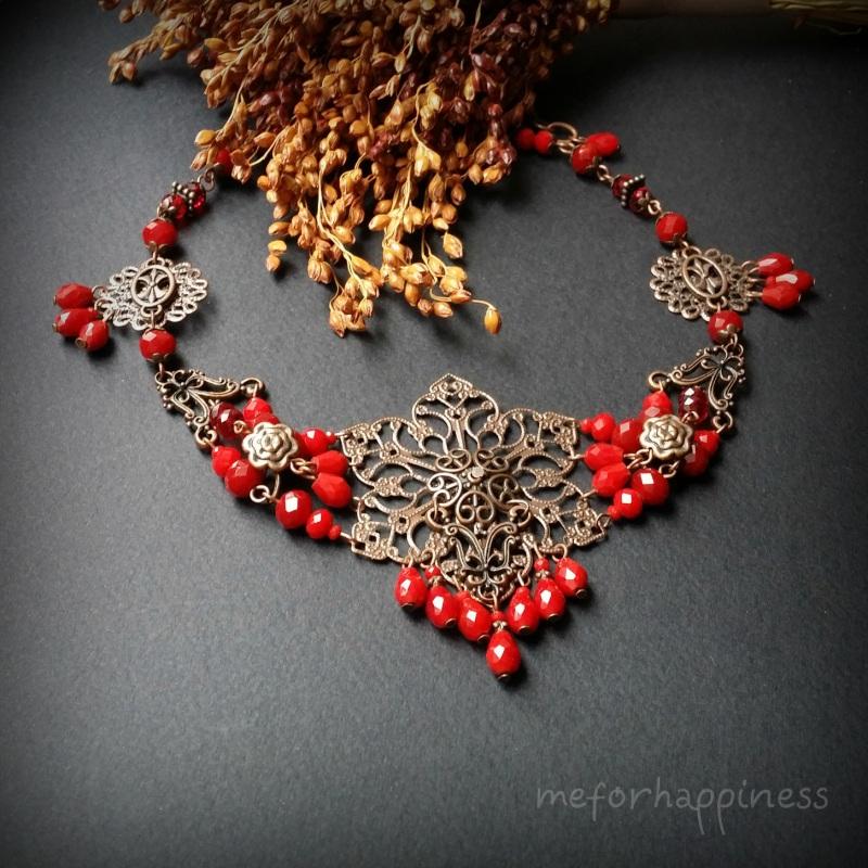 Рябиновое короткое красное колье Красный Чешское стекло, фурнитура Для Счастья - фото 1