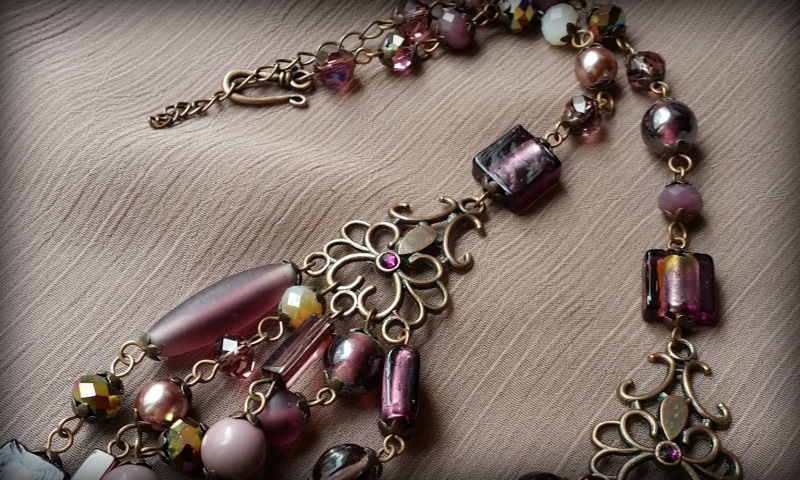 Вишневое массивное ожерелье Разноцветный чешское и индийское стекл Для Счастья - фото 3