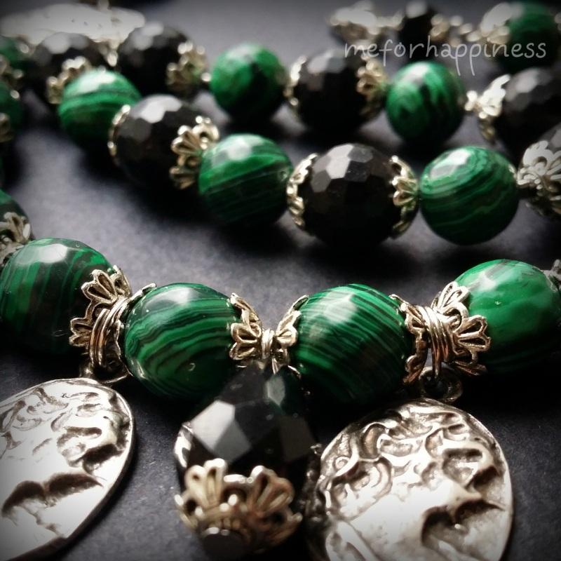 Малахитовое ожерелье с камеями Разноцветный змеевик прессованный, ага Для Счастья - фото 4