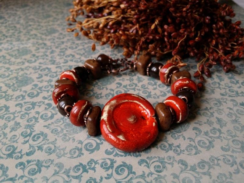 Красно - коричневый браслет из керамики Красный керамика ручной работы, а Для Счастья - фото 4