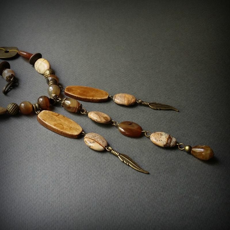 Колье Агатовый песок  Яшма,  агат, сердолик, ко Для Счастья - фото 6