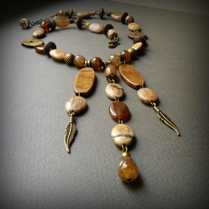 Колье Агатовый песок  Яшма,  агат, сердолик, ко Для Счастья - фото 1