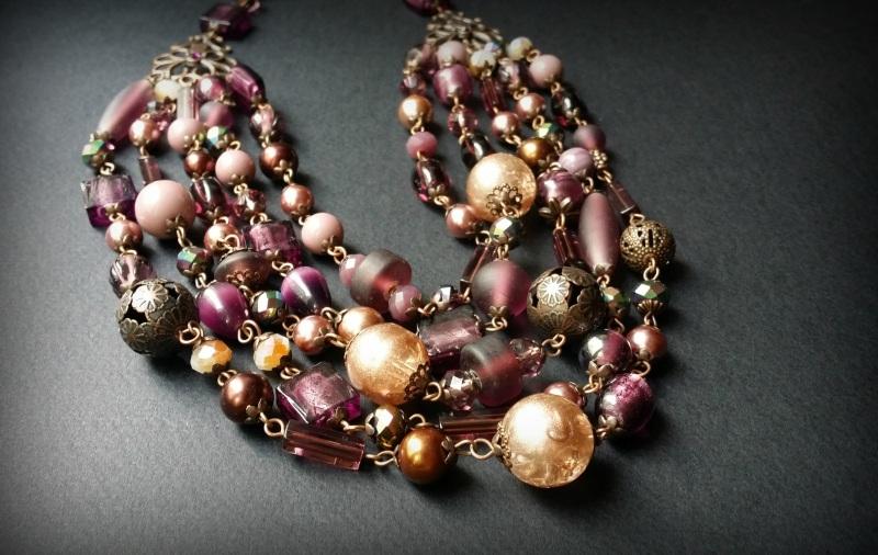 Вишневое массивное ожерелье Разноцветный чешское и индийское стекл Для Счастья - фото 1