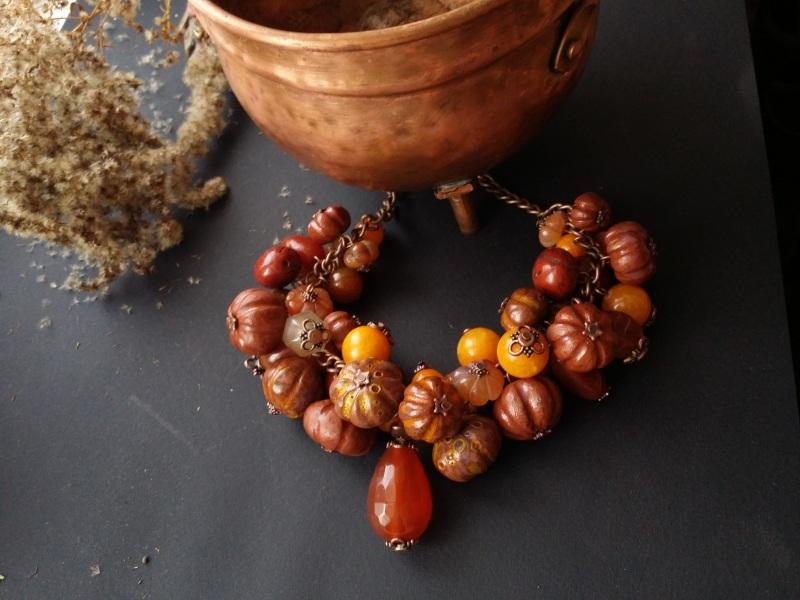 Оранжевое ожерелье Тыквы с сердоликом  керамика ручной работы, с Для Счастья - фото 3