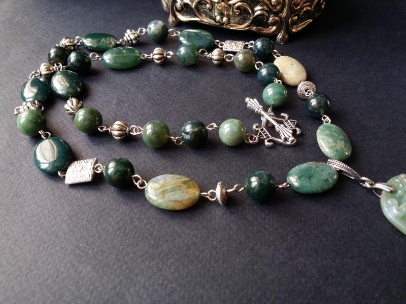 Водяной дракон Косуйро Зеленый агат, серебро 925 пробы - Для Счастья - фото 4