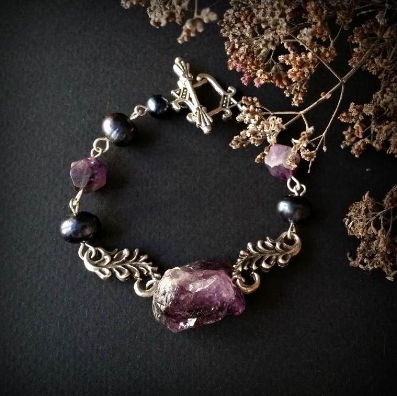 Аметистовий браслет з синіми перлами Фіолетовий аметист, синий жемчуг, по Для Щастя - фото 1