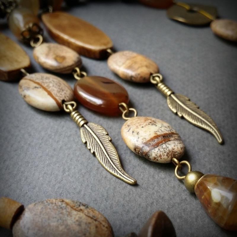Колье Агатовый песок  Яшма,  агат, сердолик, ко Для Счастья - фото 3