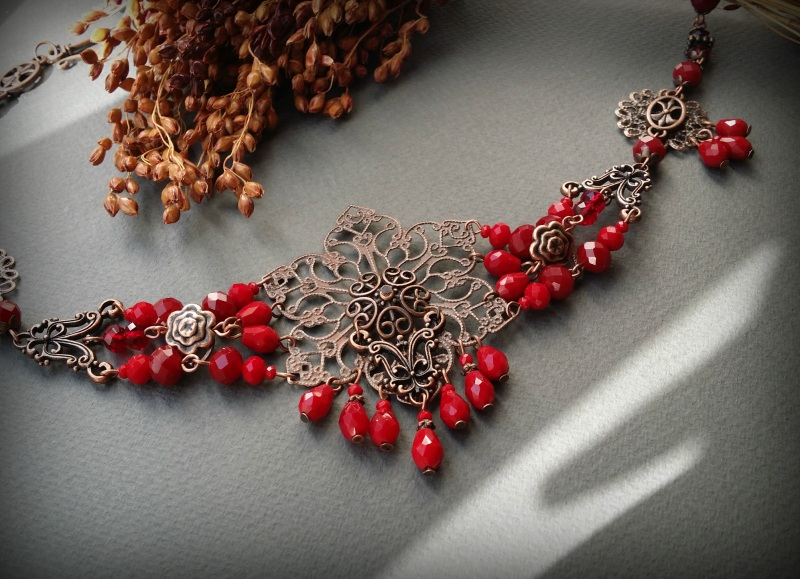 Рябиновое короткое красное колье Красный Чешское стекло, фурнитура Для Счастья - фото 5