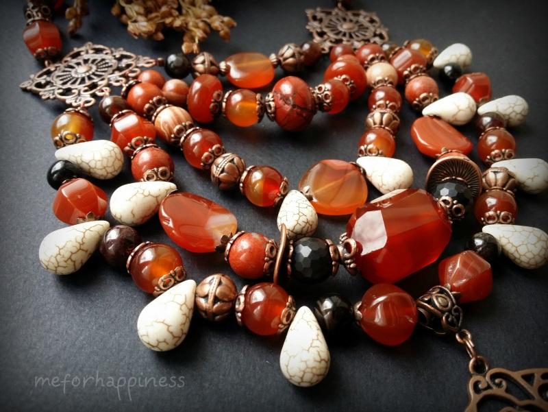 Красное ожерелье Рассвет в горах Разноцветный сердолик, агат, красная я Для Счастья - фото 5