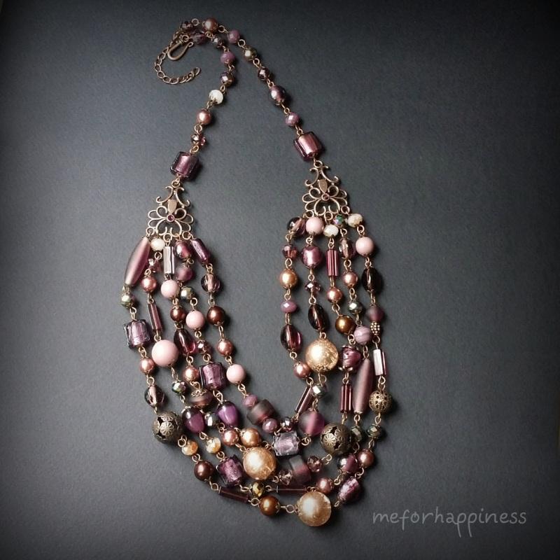Вишневое массивное ожерелье Разноцветный чешское и индийское стекл Для Счастья - фото 4