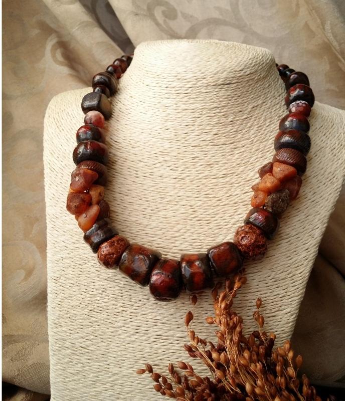 Красно коричневые бусы Огненная саламандра  авторская керамика ручной Для Счастья - фото 2