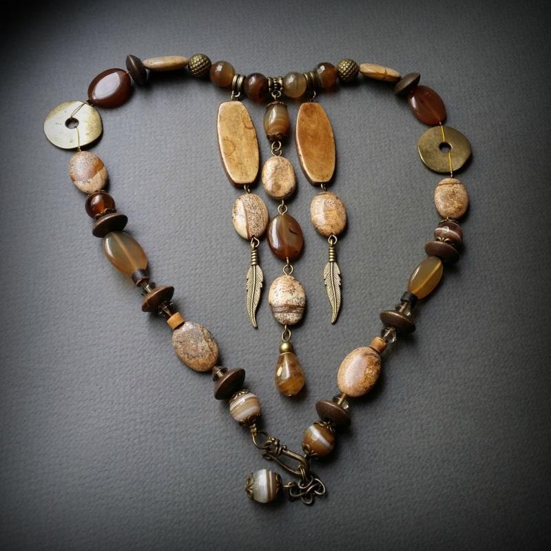 Колье Агатовый песок  Яшма,  агат, сердолик, ко Для Счастья - фото 2