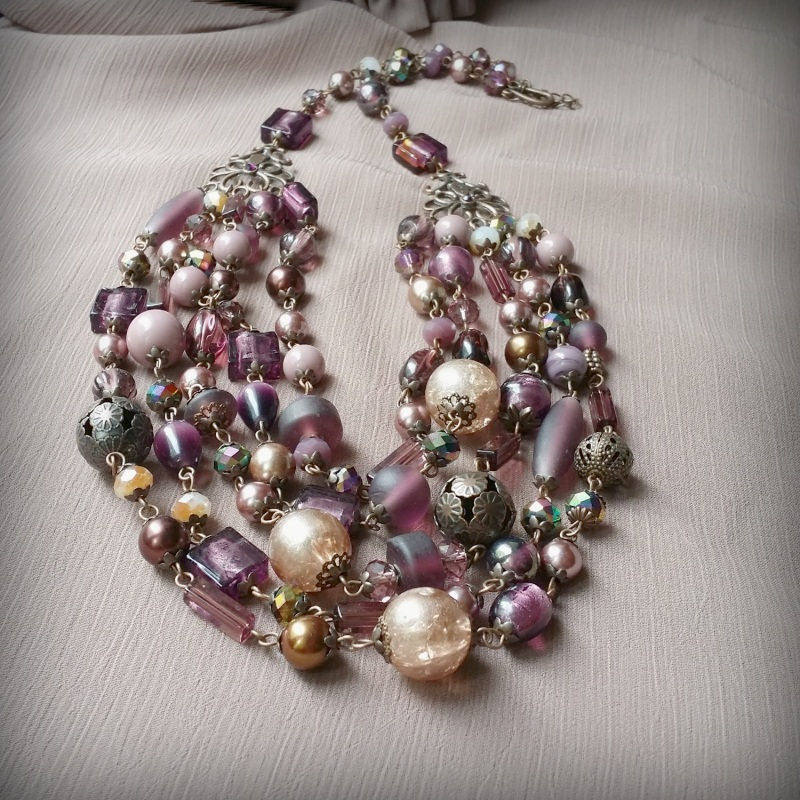 Вишневое массивное ожерелье Разноцветный чешское и индийское стекл Для Счастья - фото 5