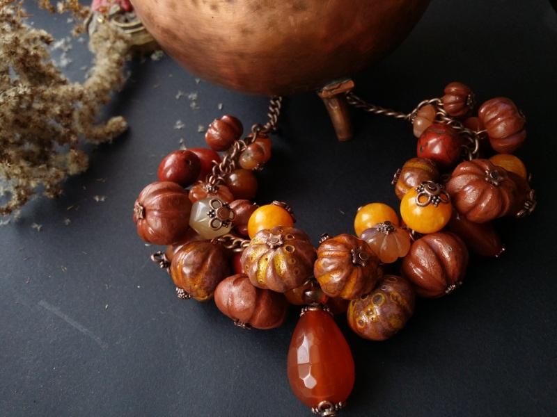 Оранжевое ожерелье Тыквы с сердоликом  керамика ручной работы, с Для Счастья - фото 2