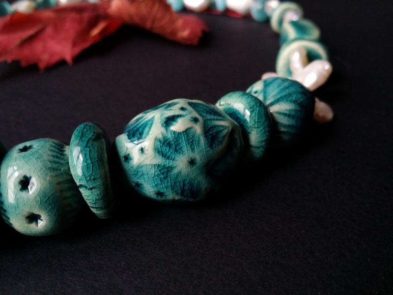 Голубые бусы из керамики Голубая лагуна  авторская керамика ручной Для Счастья - фото 5