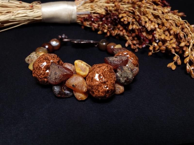 Браслет янтарный с керамикой и агатами  авторская керамика ручной Для Счастья - фото 3