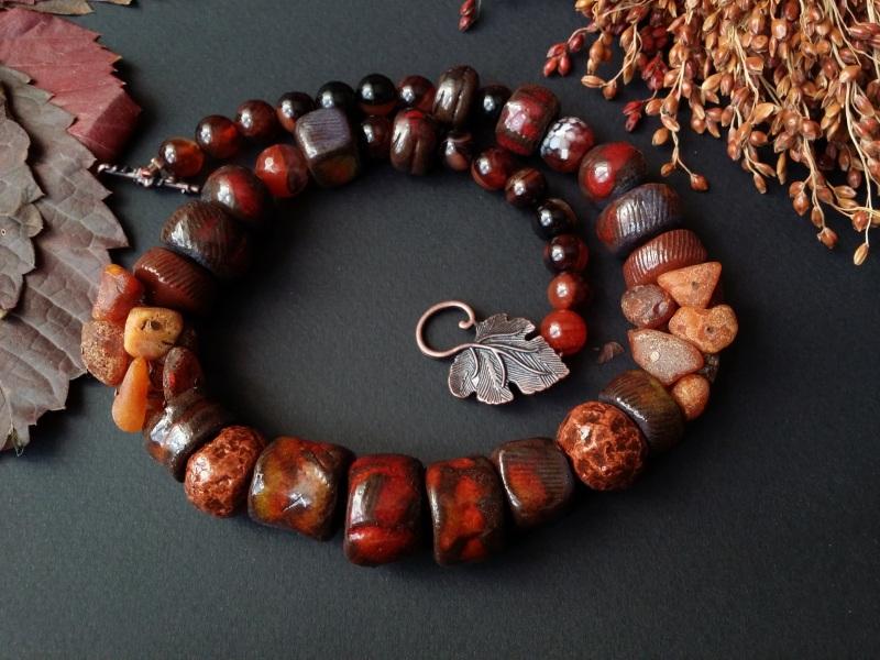 Красно коричневые бусы Огненная саламандра  авторская керамика ручной Для Счастья - фото 5