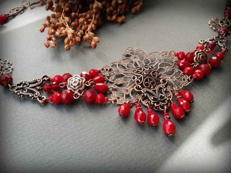 Рябиновое короткое красное колье Красный Чешское стекло, фурнитура Для Счастья - фото 6
