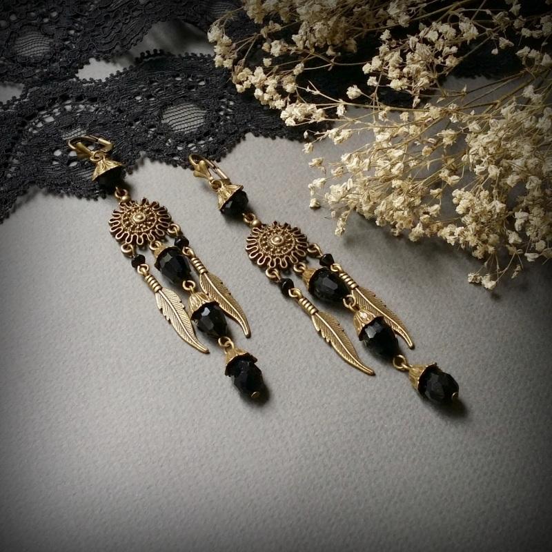 Бронзовые черные серьги с перьями Пустыня палящего солнца  чешское стекло, фурнитура Для Счастья - фото 3