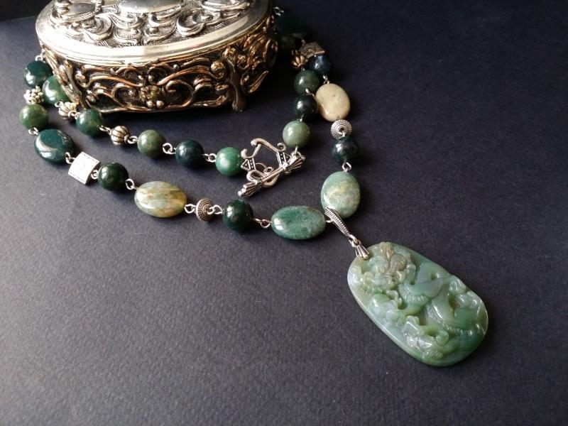 Водяной дракон Косуйро Зеленый агат, серебро 925 пробы - Для Счастья - фото 2