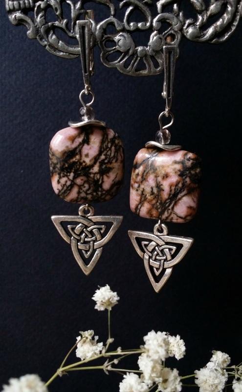 Розовые серьги с серебром из родонита Розовый родонит, раухтопаз, сереб Для Счастья - фото 1