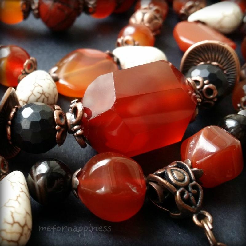 Красное ожерелье Рассвет в горах Разноцветный сердолик, агат, красная я Для Счастья - фото 4