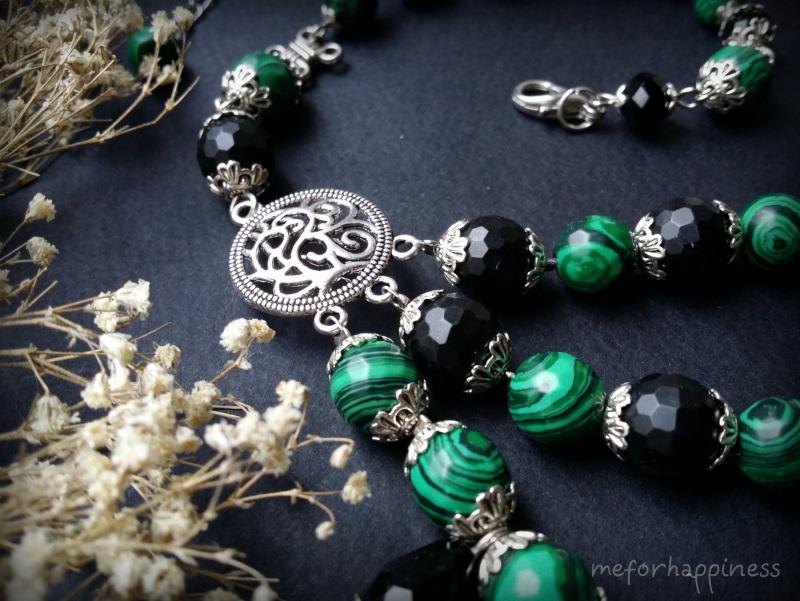 Малахитовое ожерелье с камеями Разноцветный змеевик прессованный, ага Для Счастья - фото 2