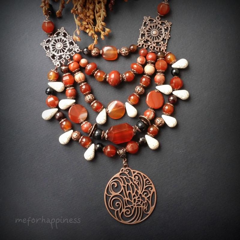 Красное ожерелье Рассвет в горах Разноцветный сердолик, агат, красная я Для Счастья - фото 6