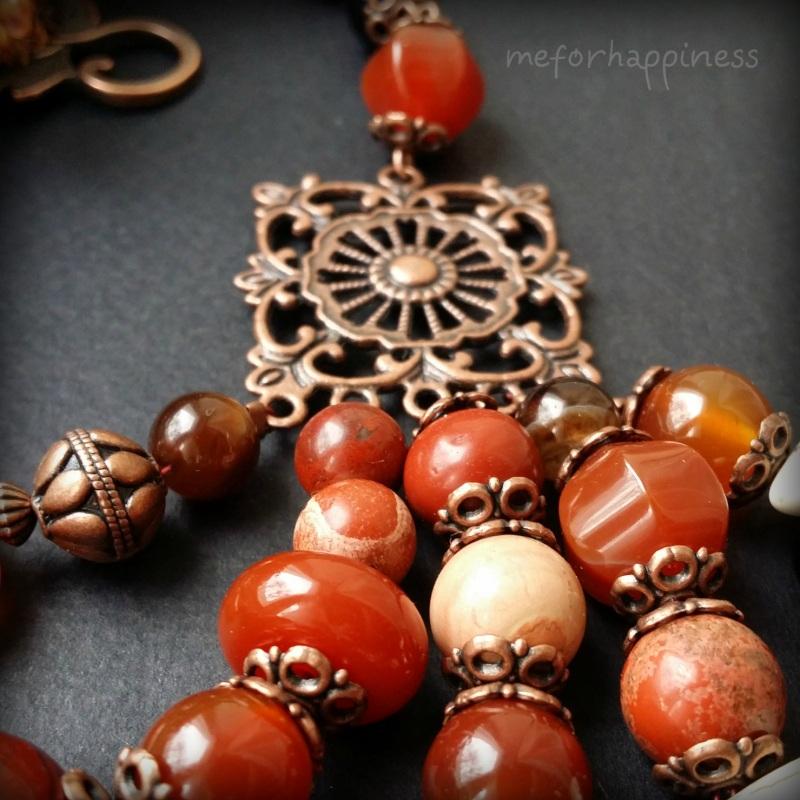 Красное ожерелье Рассвет в горах Разноцветный сердолик, агат, красная я Для Счастья - фото 3